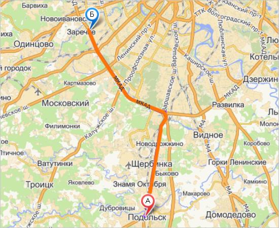 Схема проезда от Подольска до
